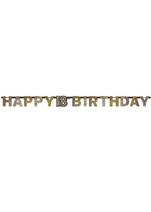 18th birthday gold sparkling letter banner