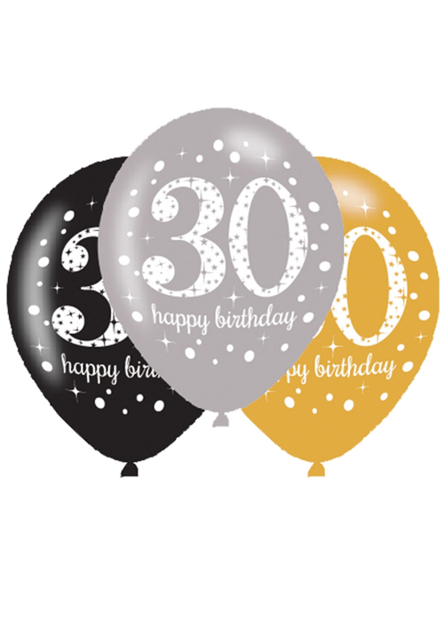 Black And Gold 30th Birthday Party Balloons Pk6