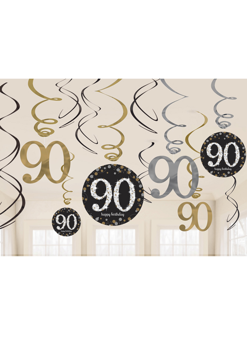 Gold And Black 90th Birthday Swirl Decorations