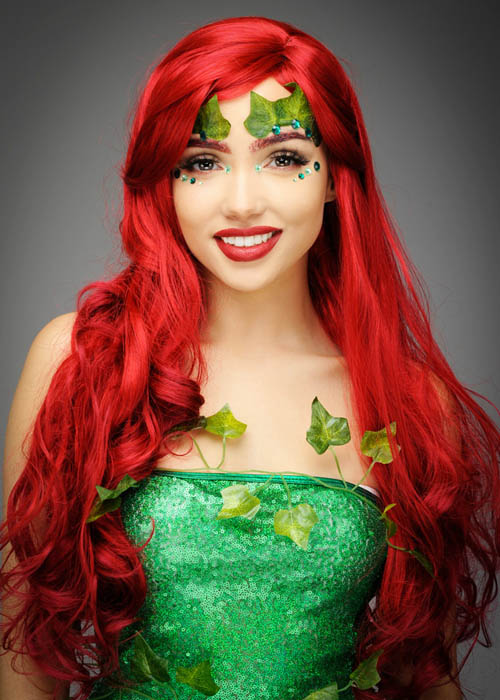 Ladies Long Red Wavy Poison Ivy Style Wig