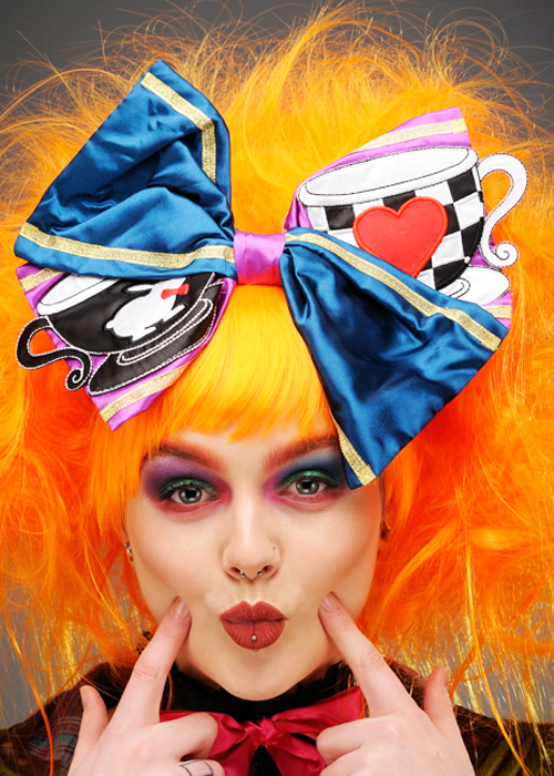 Womens Deluxe Wonderland Mad Hatter Large Hair Bow A2753