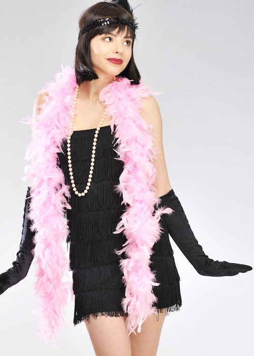 1920s Flapper Girl Pale Pink Feather Boa Ac 9004