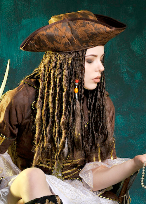 sparrow hair style sparrow style caribbean pirate hat with hair 5099