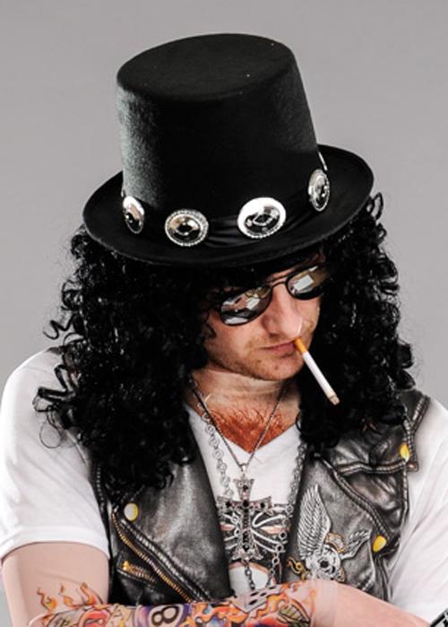1980s Rockstar Slash Style Black Top Hat With Band 0aaaaba37330
