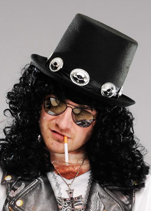 1980s Rockstar Slash Style Black Top Hat With Band 932da6d9f51