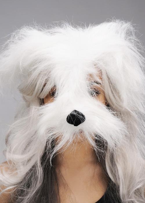 Dog Ears Mask: White Shaggy Dog Mask On Headband