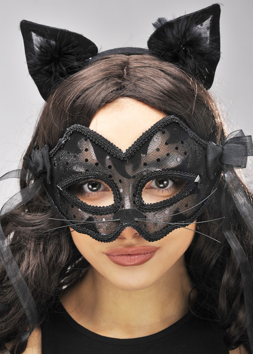 Womens Black Lace Catwoman Mask Womens Black Lace Catwoman Mask