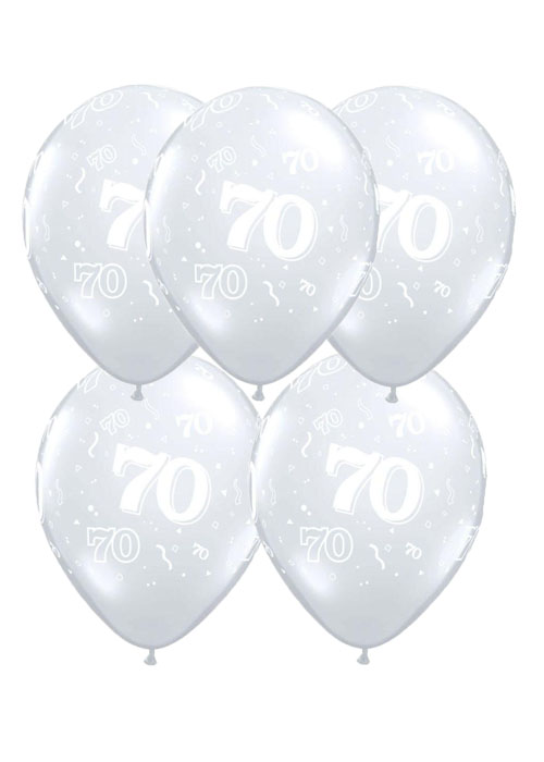 Diamond Clear 70th Birthday Party Balloons Pack 5