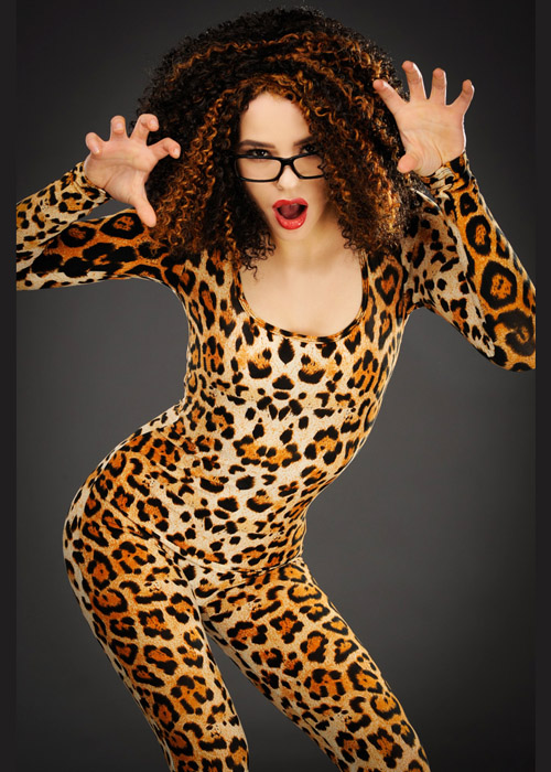 Womens 1990s Scary Spice Style Leopard Costume