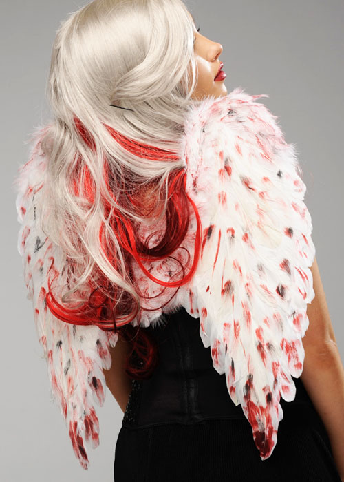 Halloween Gothic Fallen Angel Bloody White Feather Wings