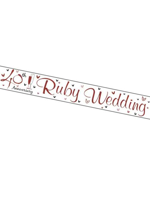 Anniversario Matrimonio Rubino.Banner Di Rubino Bianco E Rosso 40 Anniversario Di Matrimonio Ebay