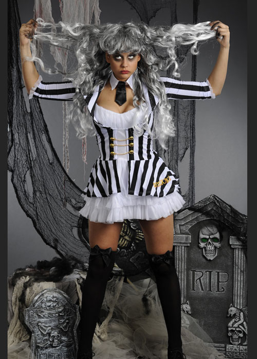 Womens Cute Beetlejuice Costume With Wig Ladies Sexy