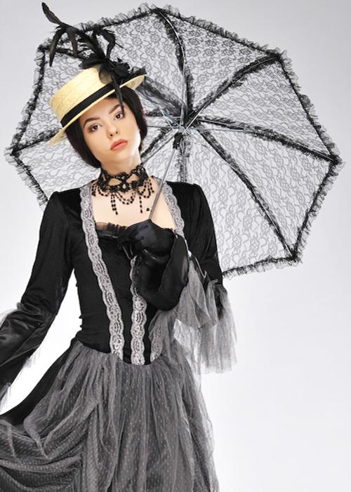 b48875c2f Details about Victorian Ladies Black Lace Parasol