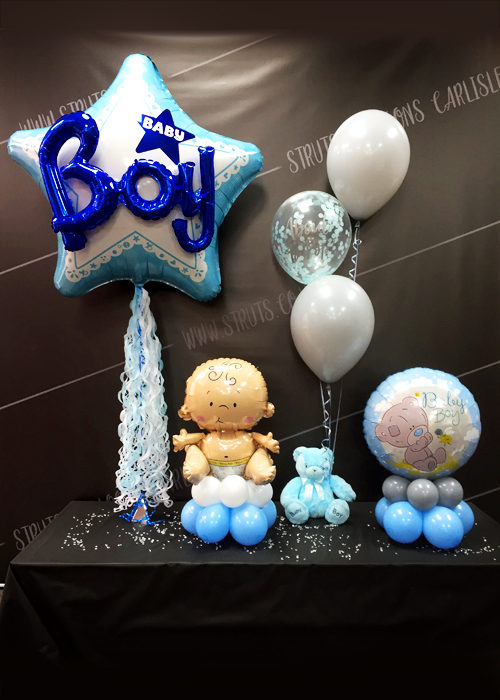About To Pop Blue Teddy Bear Confetti Balloon Cluster