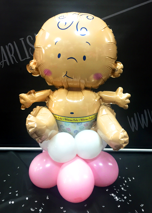 Pink Sitting Baby Girl Inflated Balloon Table Centrepiece