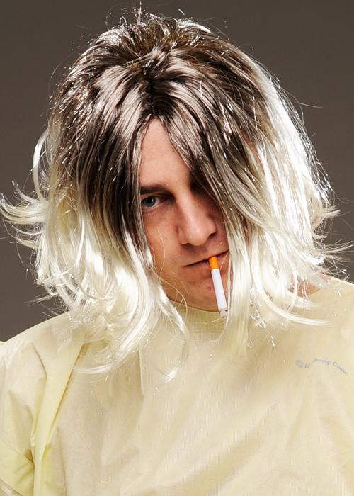 Grunge Rocker 90s Band Kurt Cobain Blonde Men Costume Wig