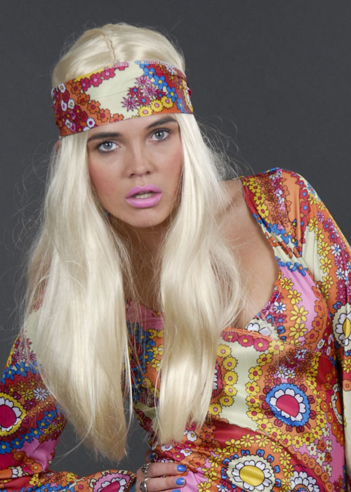 "Ladies Long Straight 24/"" Brown Wig Fancy Dress Halloween Hippy Hippie 60s 70s"