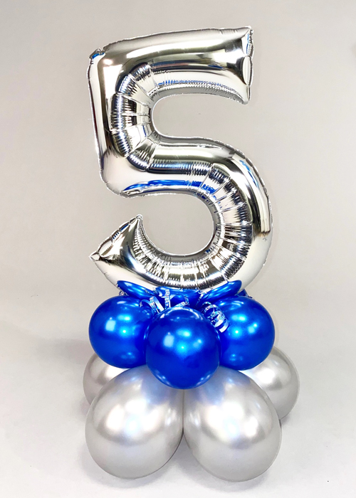 Blue and Silver Mini Number 5 Inflated Balloon Centrepiece