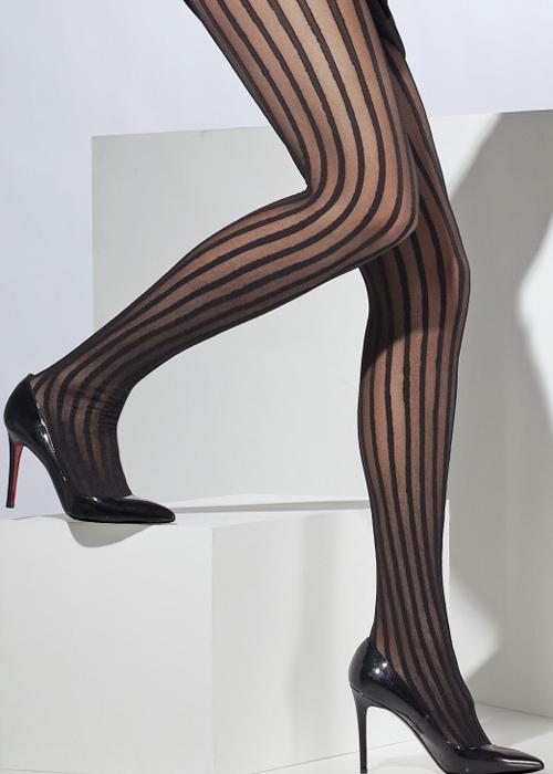 f3862d5d3 Opaque Black Striped Burlesque Tights 5020570427200