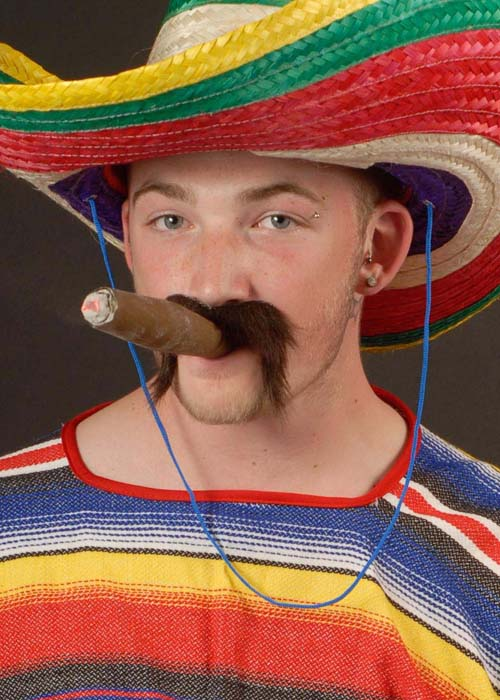 JUMBO FAKE CIGAR AND MEXICAN MOUSTACHE WILD WEST FANCY DRESS COSTUME ACCESSORY