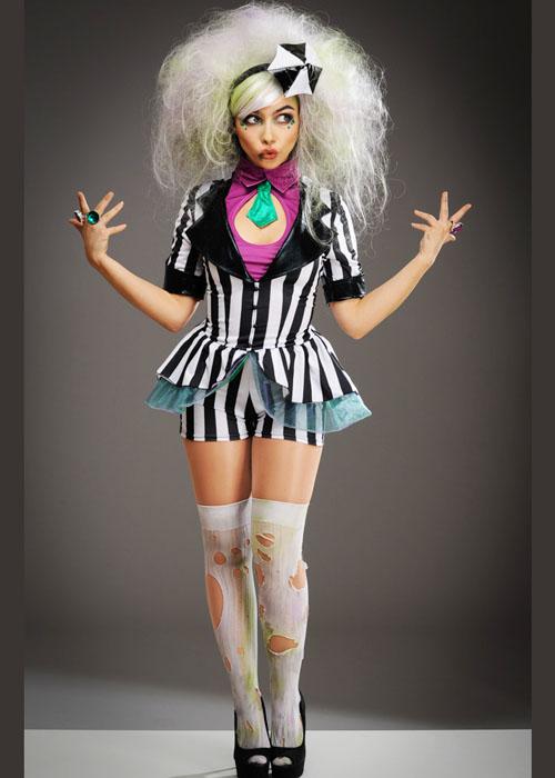 Womens Cute Striped Beetlejuice Style Costume Ebay