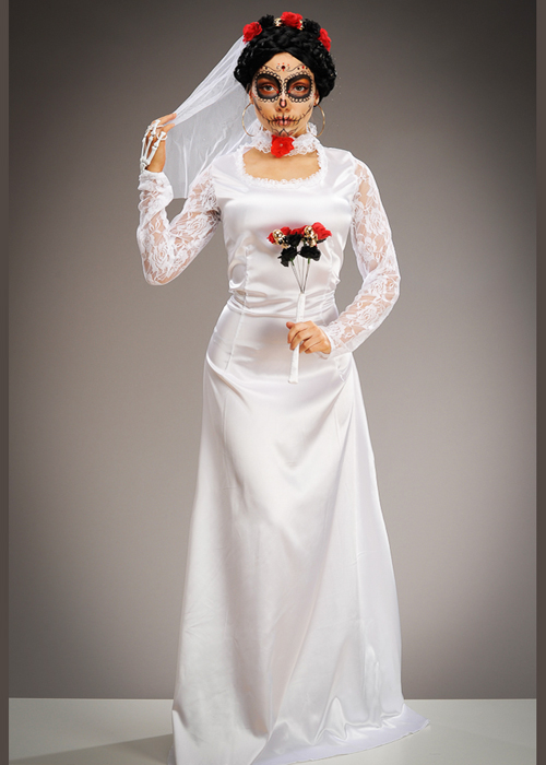 Ladies Day Of The Dead White Bride Costume