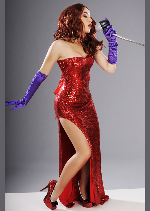 Womens Deluxe Red Sequin Jessica Rabbit Style Costume