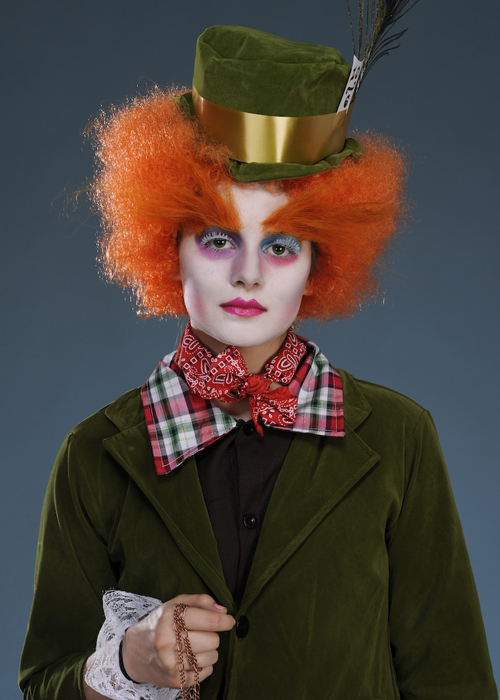 Childrens Deluxe Green The Mad Hatter Style Costume