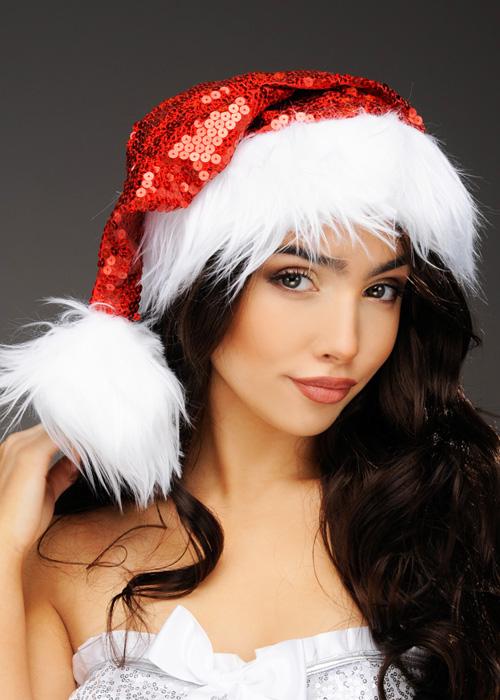 2fa13e25ecc5f Womens Christmas Deluxe Red Sequin Santa Hat