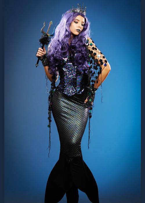 Womens Gothic Black Sparkle Dark Mermaid Leggings