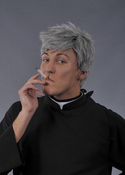 90s TV Character Father Ted Style Grey Male Wig
