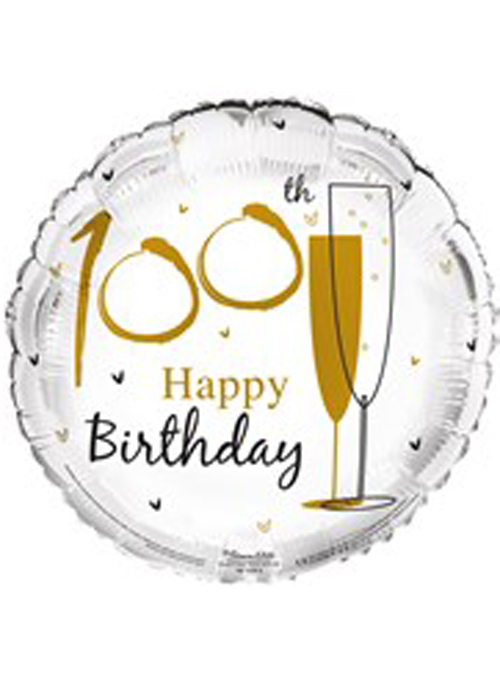 Gold Happy 100th Birthday Helium Party Balloon