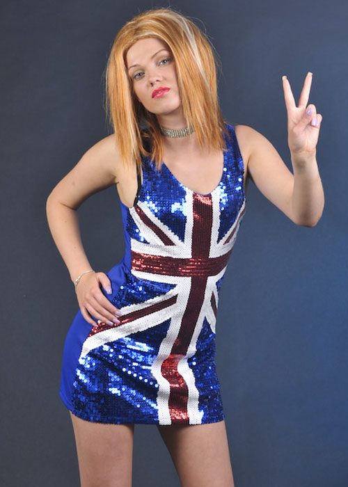 90&-39-s Pop Star Geri Ginger Spice Union Jack Dress [25001] - Struts ...