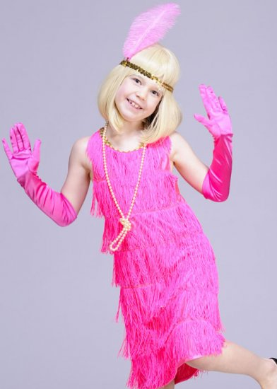 Kids 20s Pink Flapper Girl Costume Kids 20s Pink Flapper Girl Costume ...