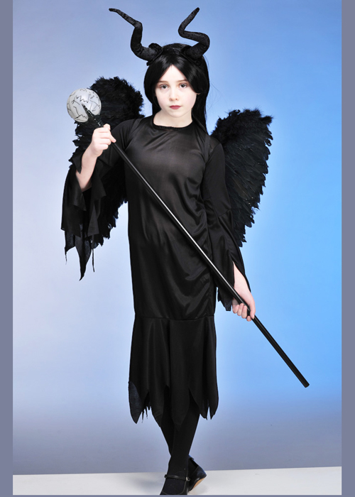 Queen Dress Childrens Horns Wings Wicked Maleficent