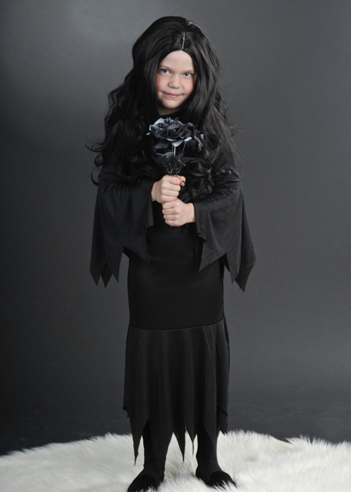 childrens size halloween morticia style costume kids halloween morticia costume. Black Bedroom Furniture Sets. Home Design Ideas