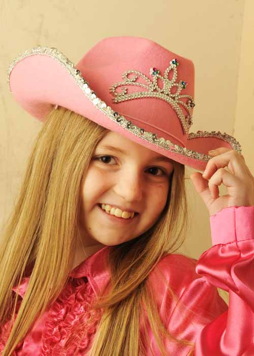 Childrens Cowgirl Pink Sequin Cowboy Hat with Tiara 8712026041043  4bd71fa8103