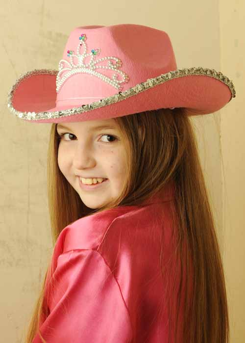 Childrens Cowgirl Pink Sequin Cowboy Hat With Tiara 8482b0d088d4