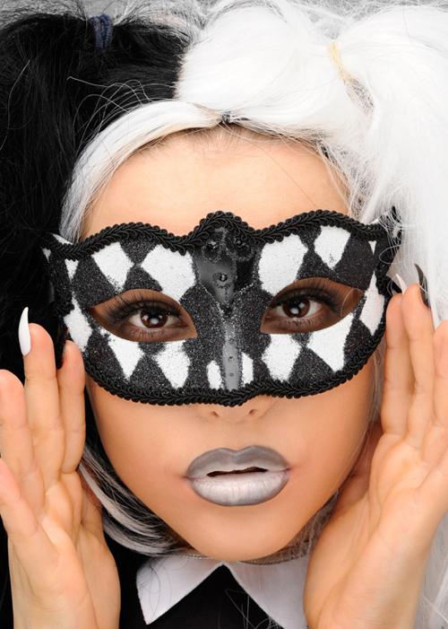 Sequinned Eye Mask Bat Black Silver Halloween Party Girls