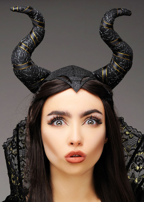 Womens Wicked Queen Maleficent Style Black Glitter Horns