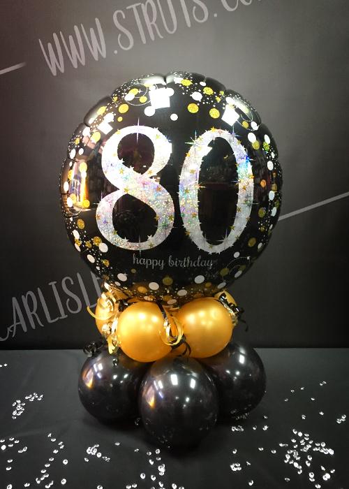 Black And Gold 80th Birthday Balloon Centrepiece SB011