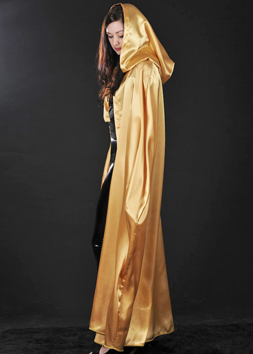 Adults Stunning Long Gold Satin Cape