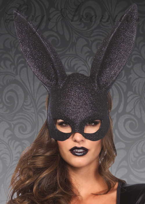 Leg Avenue Black Glitter Masquerade Rabbit Mask