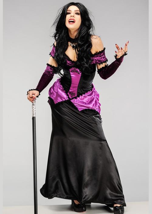 Womens Gothic Countess Purple Vampire Costume Womens ...