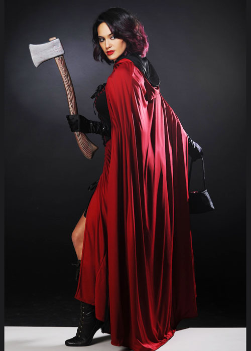 Ladies Dark Red Riding Hood Costume With Axe
