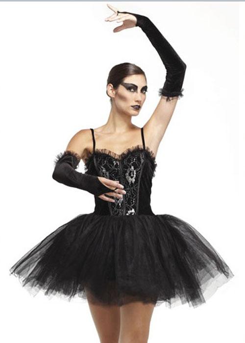 Ladies Black Swan Gothic Ballerina Costume Ladies Black