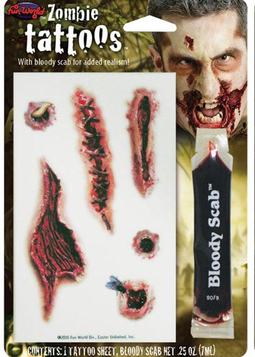 Halloween bloody scar wound fake tattoo halloween bloody for Fake wound tattoos