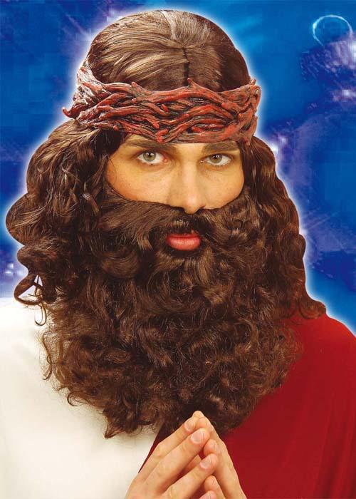 Adulto #Jesus Parrucca barba e baffi per Natale Natività Costume Vestito