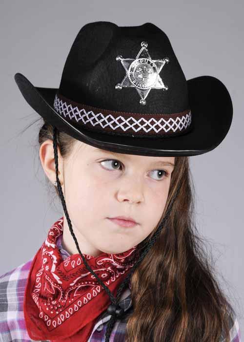 1c633669ca1 Childrens Size Black Sheriff Cowboy Hat