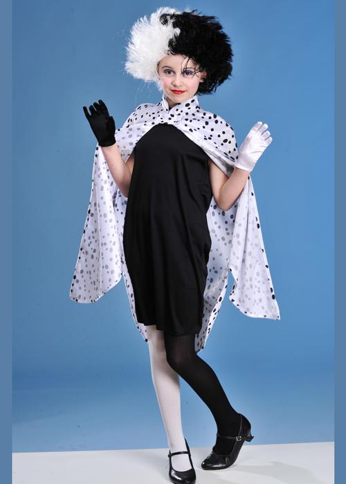 Childrens Cruella Style Dalmatian Girl Costume